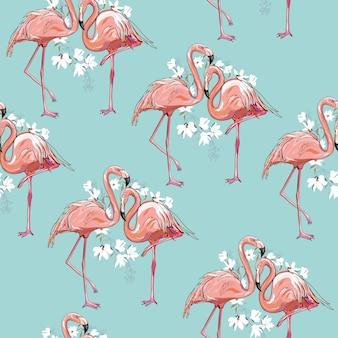 Ilustración de patrón transparente flamingo