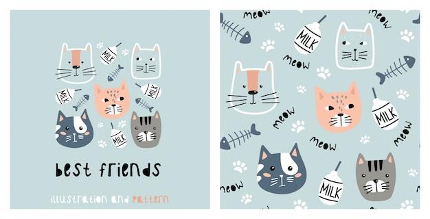 Ilustración y patrón transparente con lindo gato.