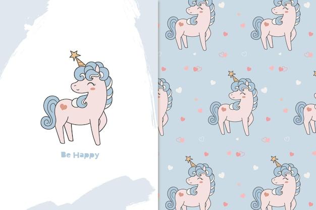 Ilustración y patrón de unicornio estrella