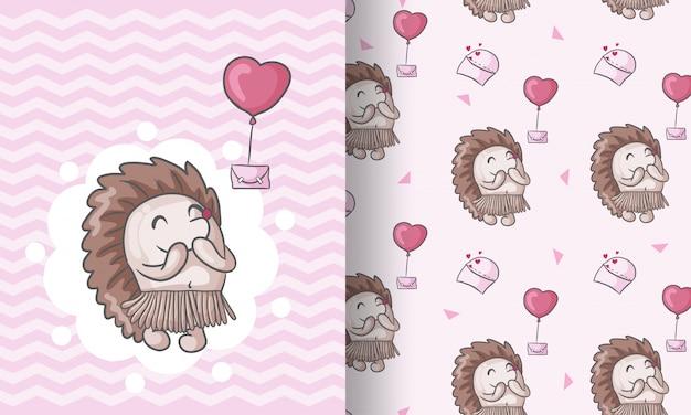Ilustración de patrones sin fisuras animal lindo erizo para niños