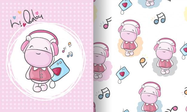 Ilustración de patrones sin fisuras animal lindo hipopótamo para niños