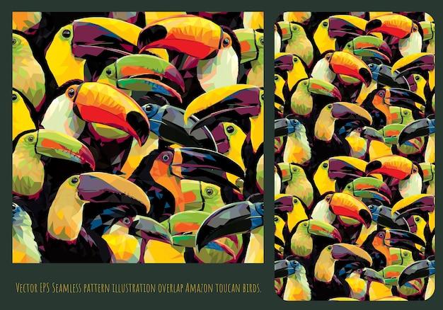 Ilustración de patrones sin fisuras arte dibujado a mano de mezcla coloridos pájaros tucán superpuestos.