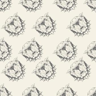 Ilustración de patrones sin fisuras con bulldog
