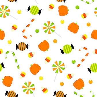 Ilustración de patrones sin fisuras de caramelos de halloween