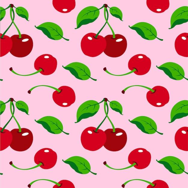 Ilustración de patrones sin fisuras de cerezas rojas