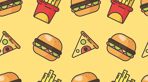 Ilustración de patrones sin fisuras de comida rápida