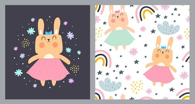 Ilustración y patrones sin fisuras con dibujos animados conejitos nubes arco iris