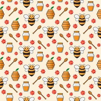 Ilustración de patrones sin fisuras de dibujos animados lindo abeja