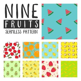 Ilustración de patrones sin fisuras de frutas en vector pack