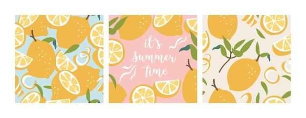 Ilustración de patrones sin fisuras con limones frescos. fondo de pantalla de verano colorido. colección de cítricos.