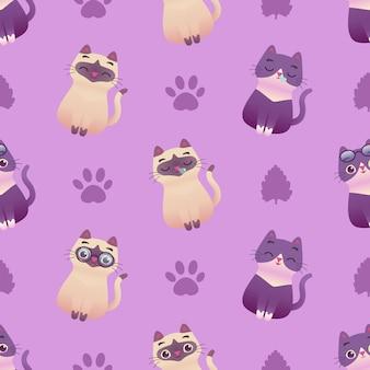 Ilustración de patrones sin fisuras de lindo gatito gato
