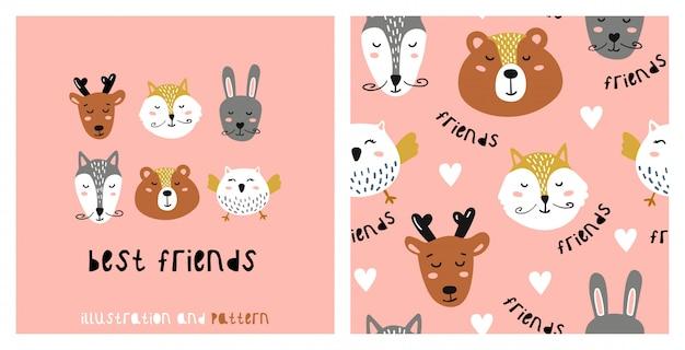 Ilustración y patrones sin fisuras con lindo gato.