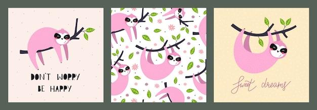 Ilustración y patrones sin fisuras con lindos perezosos