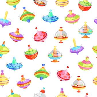 Ilustración de patrones sin fisuras de la perinola. zumbido zumbido con árboles y caballos o decoración colorida. juguetes divertidos para niños en edad preescolar en la sala de juegos en casa o en el jardín de infantes