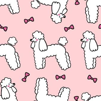 Ilustración de patrones sin fisuras de perro caniche