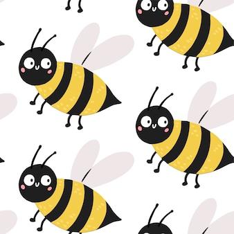 Ilustración de patrones sin fisuras de vector de bebé dibujado a mano con abeja linda. diseño plano de estilo escandinavo.