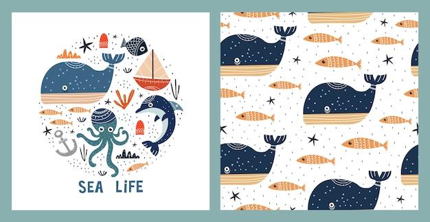 Ilustración y patrones sin fisuras con vida marina.