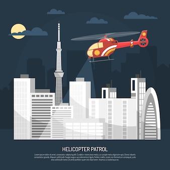Ilustración de patrulla de helicóptero