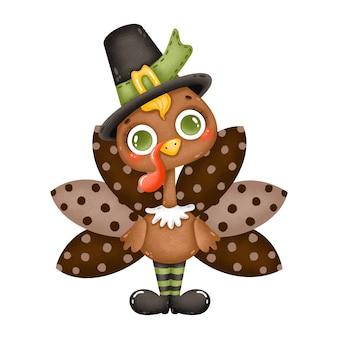 Ilustración de un pavo macho de dibujos animados lindo con un sombrero de peregrino aislado