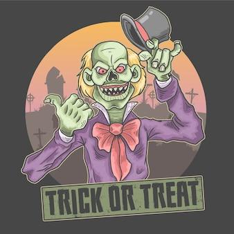 Ilustración de payaso aterrador de halloween