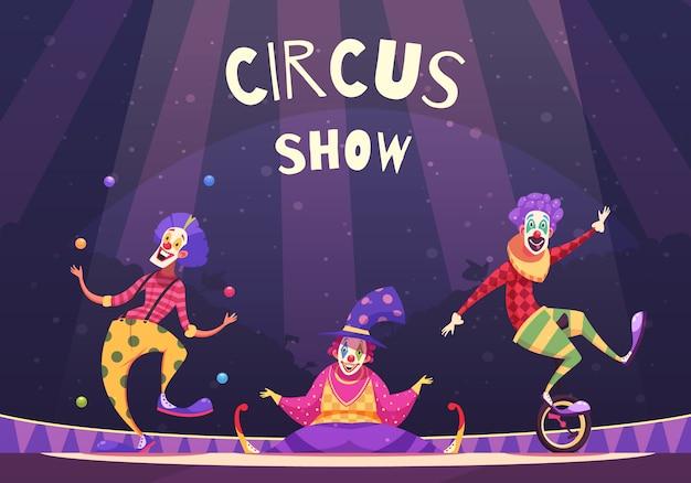 Ilustración de payasos de espectáculo de circo