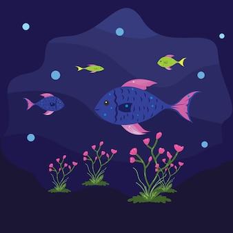 Ilustración de los peces nadan bajo el mar con alegría
