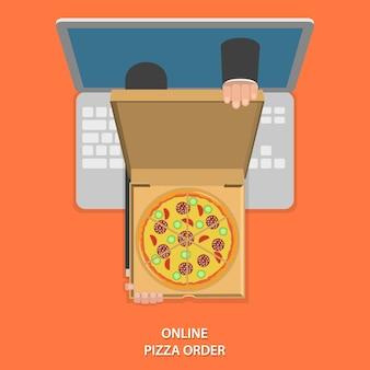 Ilustración de pedido de pizza en línea.