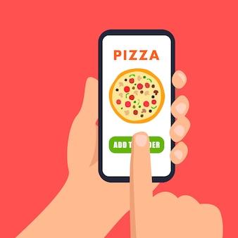 Ilustración de pedido de pizza en línea