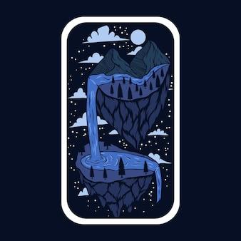 Ilustración de pegatinas de aventura imaginaria