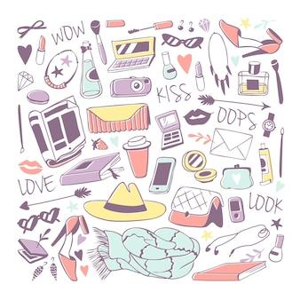 Ilustración de pegatinas de iconos de moda de chicas.