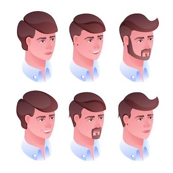 Ilustración de peinado cabeza de hombre para barbería o salón de peluquería.