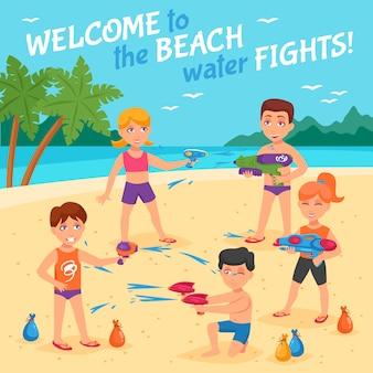 Ilustración de peleas de agua en la playa