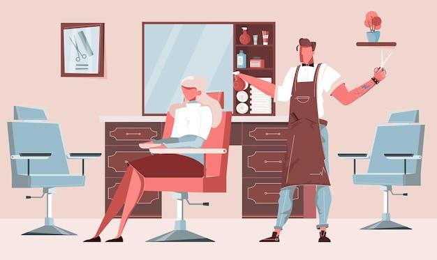 Ilustración de peluquería con peinado y perspectiva.