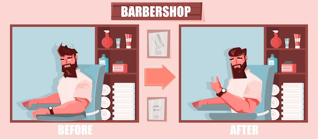 Ilustración de peluquería con perspectiva antes y después.