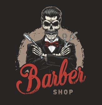 Ilustración de peluquería vintage