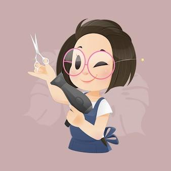 Ilustración peluquero profesional con secador de pelo y tijeras.