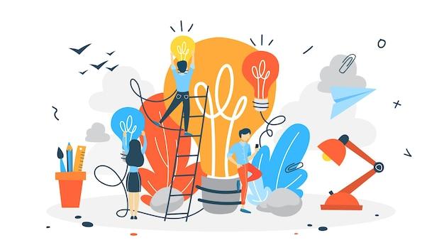 Ilustración de pensamiento creativo y lluvia de ideas