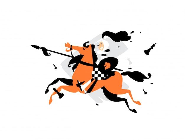 Ilustración de peones a caballo con una lanza.