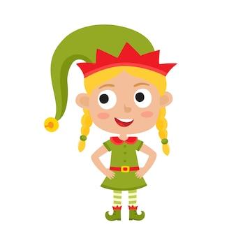 Ilustración de la pequeña elfa rubia de navidad sonriendo aislado en blanco