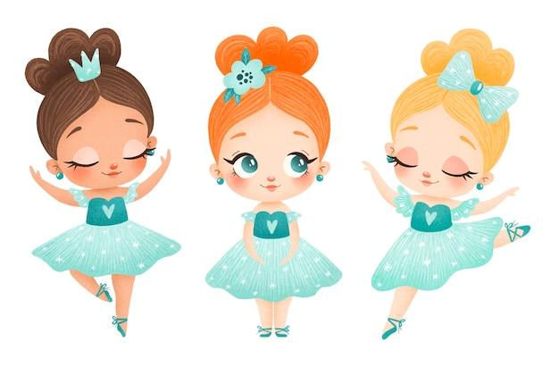 Ilustración de pequeñas bailarinas de dibujos animados lindo en vestido verde. poses de ballet aisladas