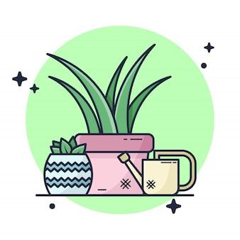 Ilustración de pequeño jardín