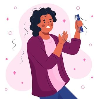 Ilustración de pérdida de cabello dibujada a mano plana con mujer
