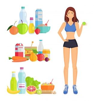 Ilustración de la pérdida de peso y alimentos saludables