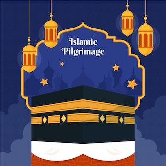 Ilustración de peregrinación de hajj islámico plano orgánico