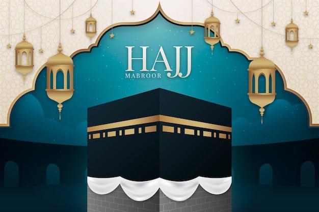 Ilustración de peregrinación islámica hajj degradado vector gratuito