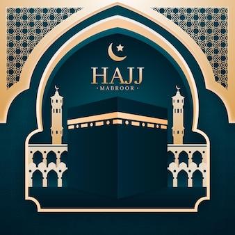Ilustración de peregrinación islámica del hajj de estilo de papel