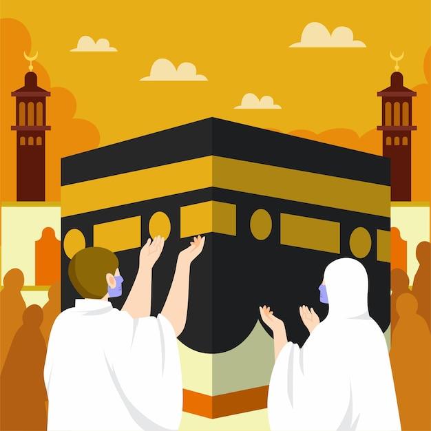 Ilustración de peregrinación islámica plana hajj