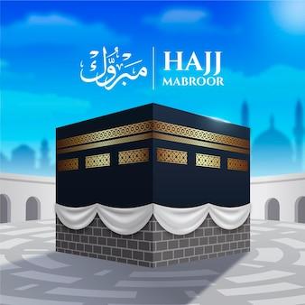 Ilustración de peregrinación islámica realista del hajj