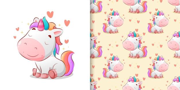 Ilustración perfecta de unicornio colorido sentado posición linda