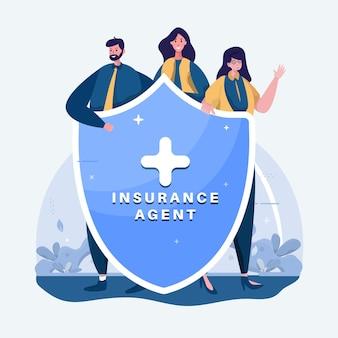 Ilustración de perfil de equipo de agente de seguros
